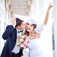 Gelukkig getrouwd koppel